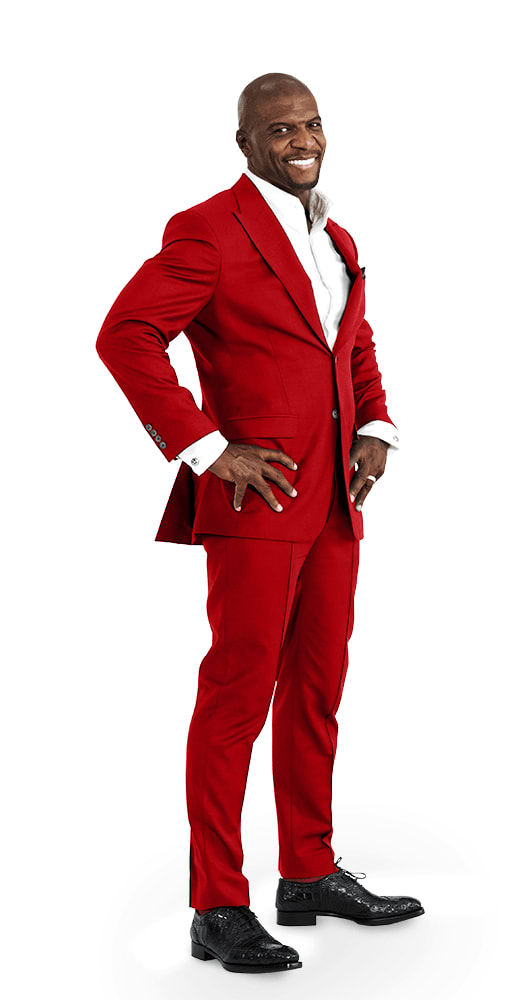 Chief Identity Champion, Terry Crews, in red suit.