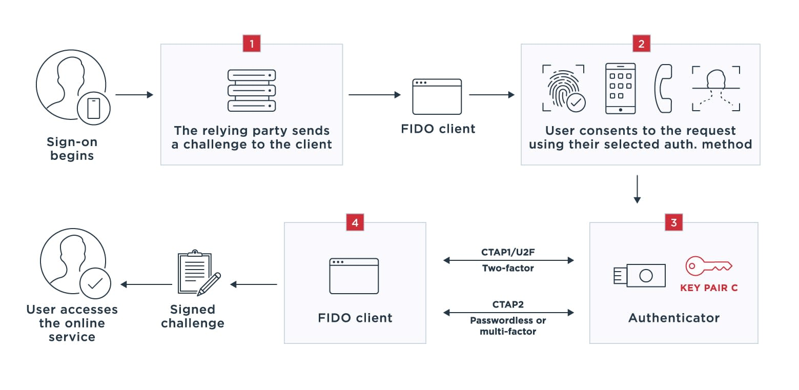 Diagram outlining how FIDO2 works to authenticate users.