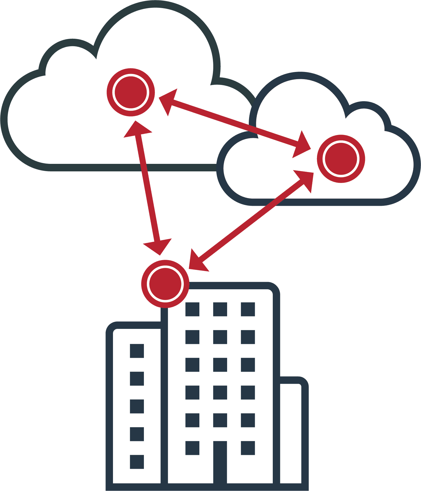 Diagram with large building and clouds