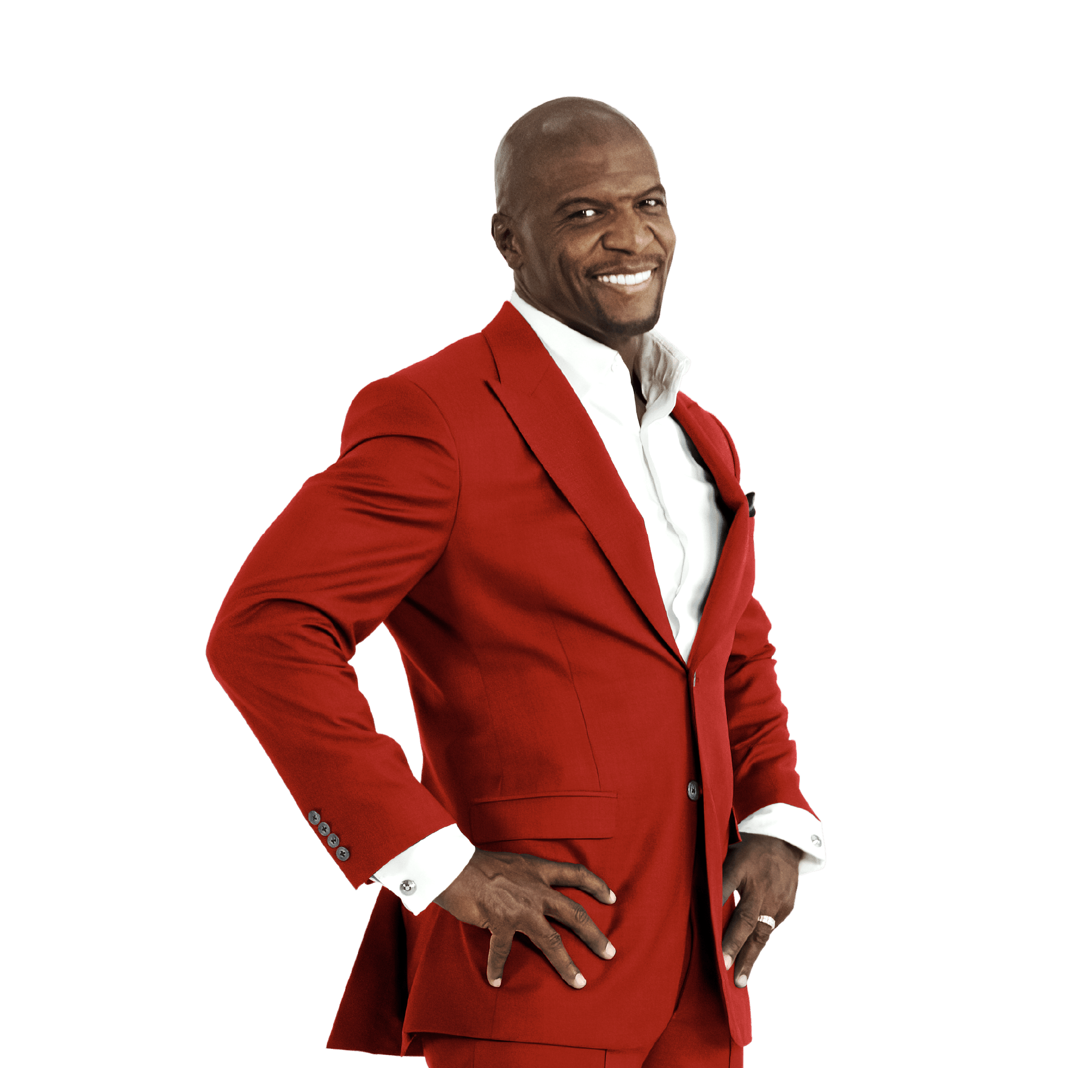 chief identity champion smiling in a red suit