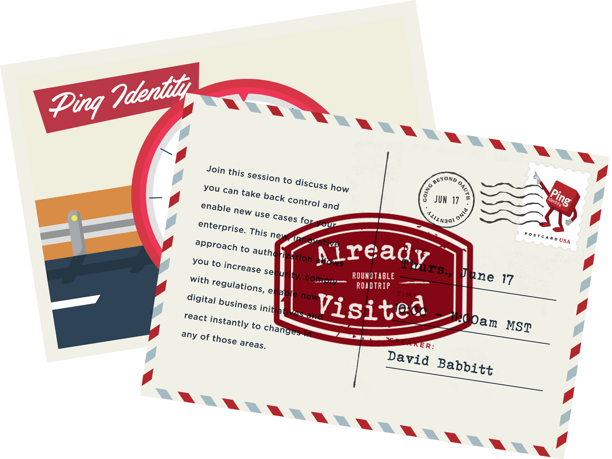 road trip postcard with signs