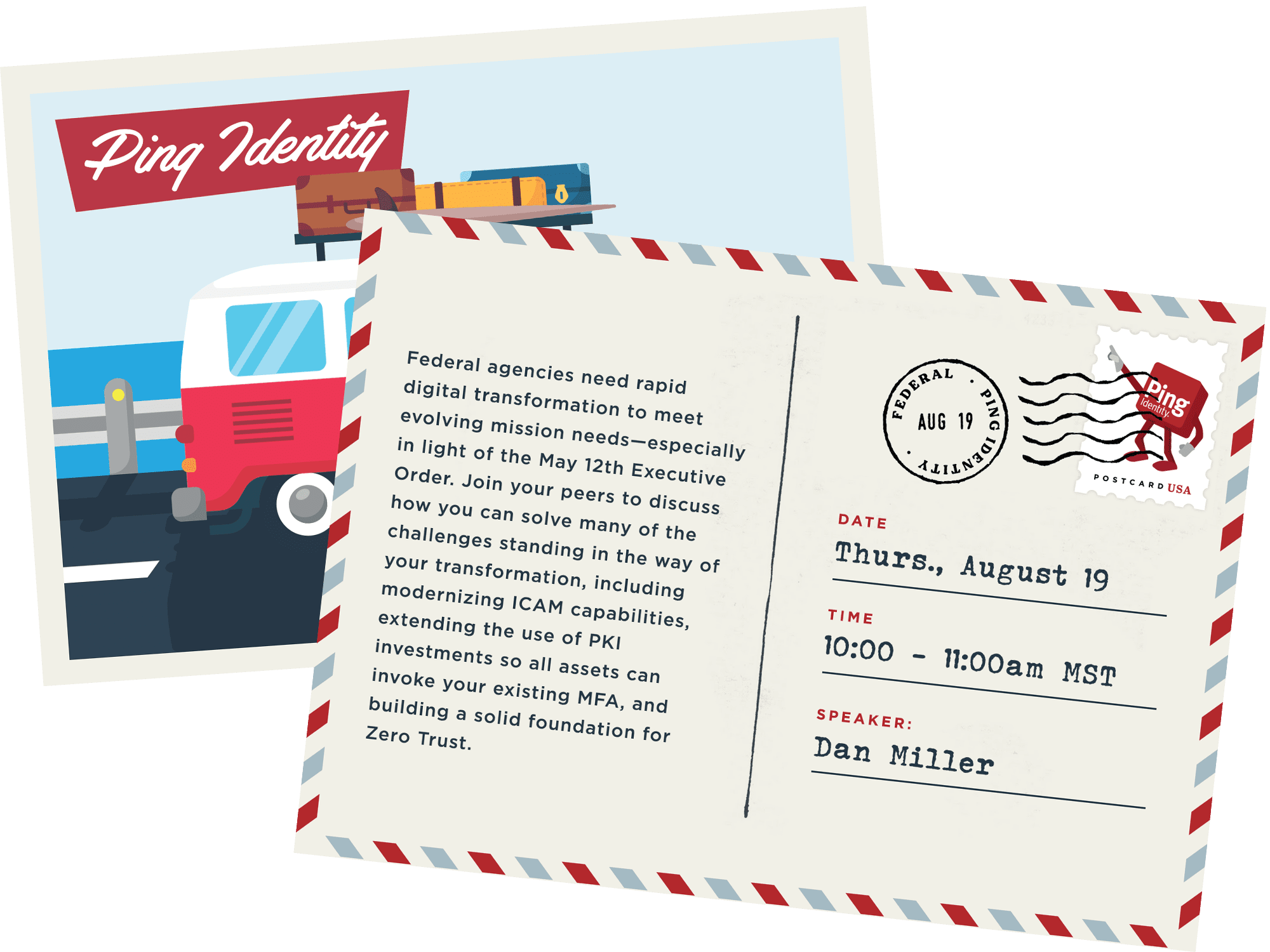 August 19 road trip postcard with signs
