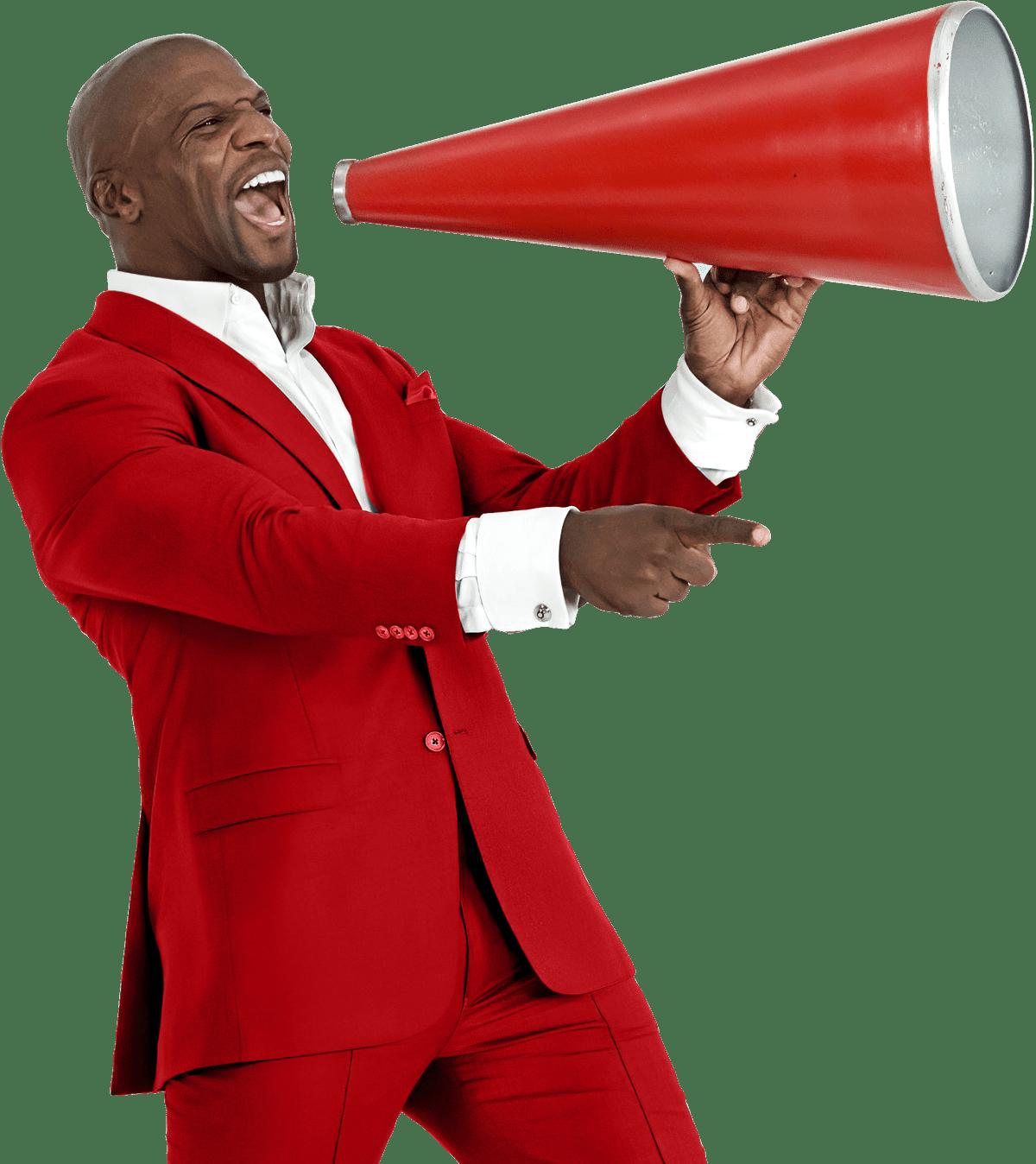 chief identity champion with megaphone