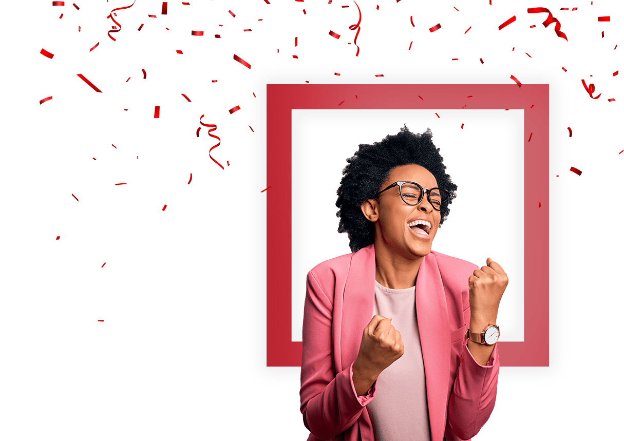 woman cheering with confetti