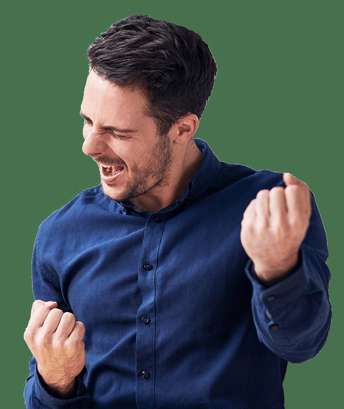 man in blue shirt cheering