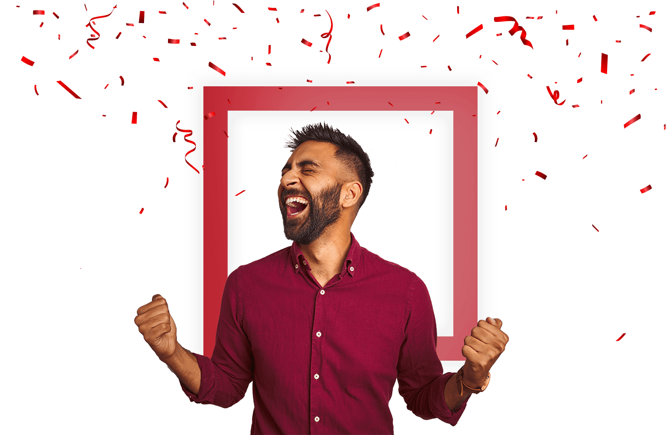 man cheering with confetti