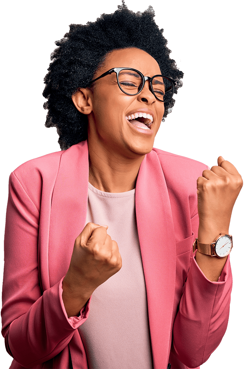 woman in pink suit and glasses cheering