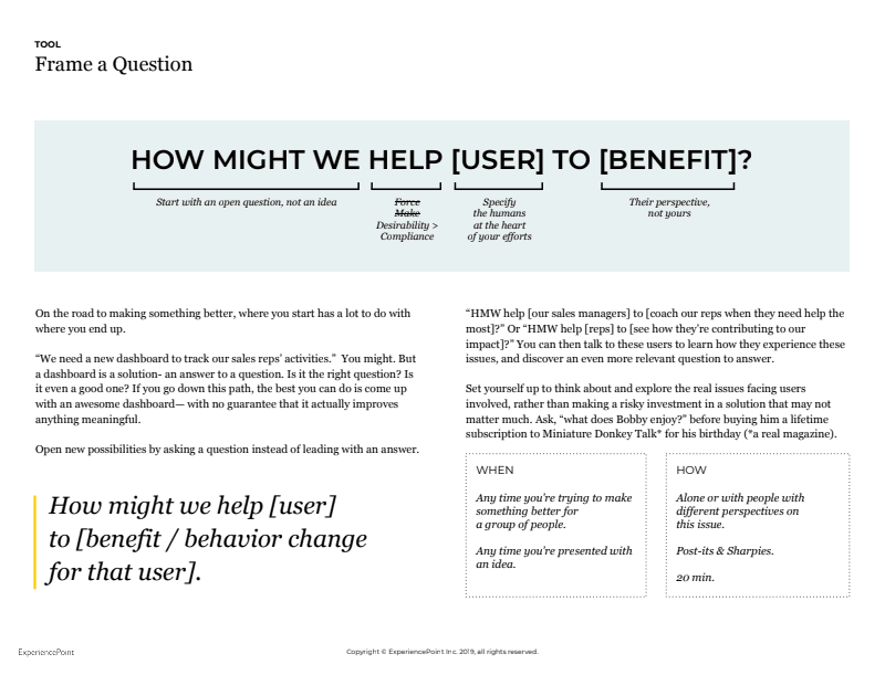 How can we help the user to benefit?