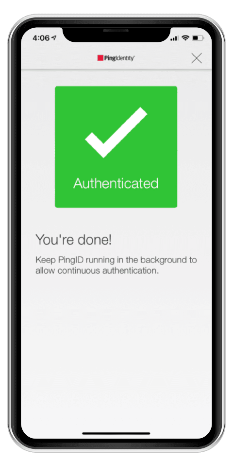 A mobile phone screen displaying a message that you have successfully authenticated using multi factor authentication.
